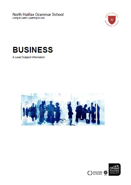 Business A Level Course Flyer, NHGS Sixth Form