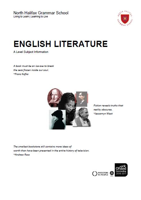 English Literature A Level Course Flyer, NHGS Sixth Form